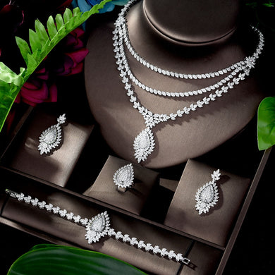 HIBRIDE Beauty Long Pendant AAA Cubic Zircon 4 pcs Jewelry Set Dress Necklace Earring Jewelry Set For Women Party Gits N-1187 - Y O L O Fashion Store