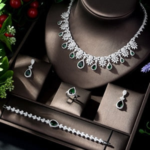 HIBRIDE High Quality African Nigerican Cubic Zirconia Big Water Drop Wedding Necklace Earring Luxury Bridal Jewelry Set N-158 - Y O L O Fashion Store