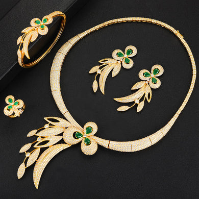 GODKI Trendy Luxury 4PCS Bowknot Nigeria Statement Jewelry Set For Women Wedding Full Cubic Zircon Dubai Bridal jewelry Set 2019 - Y O L O Fashion Store