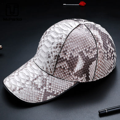 McParko Genuine Leather Python Hat Baseball Cap Men Unisex Women Sun Hat Luxury Snake Skin Hats Women Streetwear