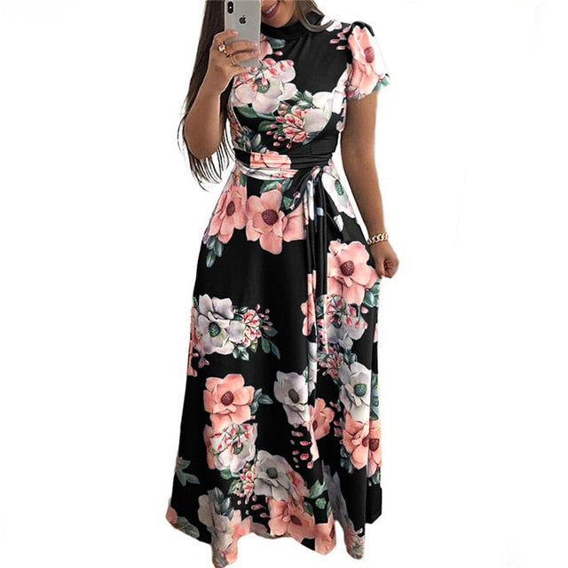Women Summer Dress 2020 Casual Short Sleeve Long Dress Boho Floral Print Maxi Dress Turtleneck Bandage Elegant Dresses Vestido