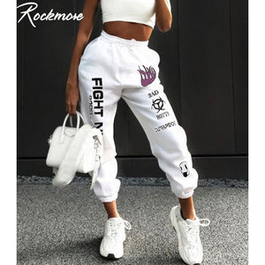 Rockmore Letter Print Sweatpants Baggy Pants Women Joggers Harajuku Wide Leg Pencil Pant Trousers Loose High Waist Sweat Pants