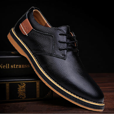 DM58 2020 New Men Oxford Genuine Leather Dress Shoes Brogue Lace Up Flats Male Casual Shoes Footwear Loafers Men Big Size 39-45 - Y O L O Fashion Store