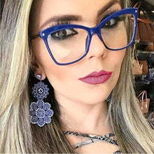 Load image into Gallery viewer, New Luxury Brand Blue Clear Lens Cat Eye Glasses Frame Women 2020 Fashion Vintage Square TR90 Eyeglasses Frame For Female Shades