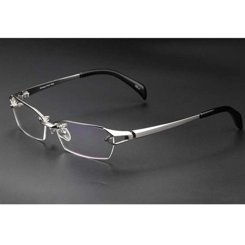 100% Luxary Pure Titanium Silver Eyeglass Frames Glasses Spectacles Half Rimless Rx able - Y O L O Fashion Store