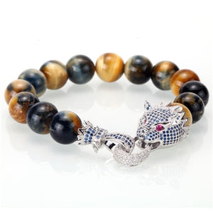 Mcllroy bracelet men/stone/bead/luxury/bracelet homme fashion dragon cz zricon handmade men jewelry man gift pulseira masculina