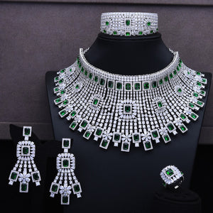 GODKI Luxury 4PCS Chokers Necklace Earring Sets Cubic Zirconia jewelry Sets for women Wedding Indian Bridal Jewelry Sets 2018