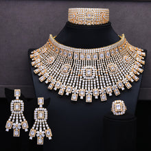 Load image into Gallery viewer, GODKI Luxury 4PCS Chokers Necklace Earring Sets Cubic Zirconia jewelry Sets for women Wedding Indian Bridal Jewelry Sets 2018