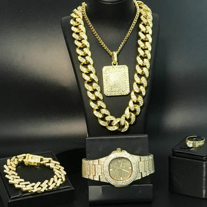 Luxury Gold Silver Men Watch & Necklace & Pendant & Bracelet & ring Combo Set Ice Out Cuban Gold Necklace Chain Hip Hop For Men