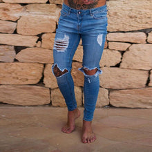 Load image into Gallery viewer, Neue Loch Jean Männer Mode Dünne Stretch Denim Bleistift Hosen Distressed Zerrissene Freyed Biker Slim Fit Jeans Hosen Größe 28 -36