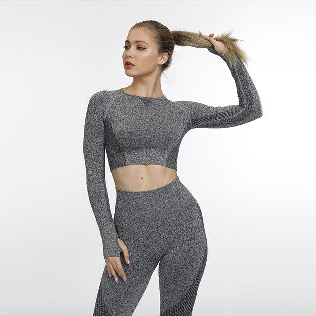 Nahtlose Frauen Yoga Set Leggings + Cropped Shirts Gym Kleidung Workout Sport Kleidung Weibliche Lange Hülse Fitness Anzug Active Wear