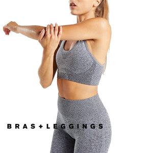 Frauen Yoga Set Ombre Nahtlose Leggings Gym Hosen Sport Bh Fitness Langarm Crop Top Workout Kleidung Anzug Läuft Sportswear - Y O L O Fashion Store