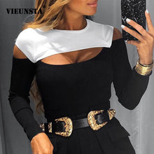 Load image into Gallery viewer, Sexy Off Schulter Cut Off Patchwork Frühling Shirts 2020 Frauen Aushöhlen O Neck Elegante Bluse Herbst Langarm Rippe tops Blusas - Y O L O Fashion Store