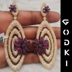 GODKI Trendy Luxury Circle Cross Flower Earrings For Women C Z Dubai Gold Jewelry 2020 - Y O L O Fashion Store