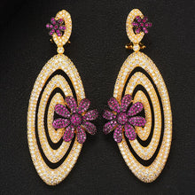 Load image into Gallery viewer, GODKI Trendy Luxury Circle Cross Flower Earrings For Women C Z Dubai Gold Jewelry 2020 - Y O L O Fashion Store
