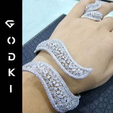 GODKI Trendy Luxury Disco BALL Stackable Jewelry Set For Women Wedding AAA Cubic Zircon Dubai Silver Bracelet Party Bangle Rings - Y O L O Fashion Store