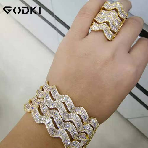 GODKI Luxury Saudi Arabia Bangle Ring Set For Women Full Micro C Z Dubai Jewelry Set - Y O L O Fashion Store