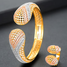 Load image into Gallery viewer, GODKI Luxury Korean 2pcs Bangle Ring Set For Women Full Micro C Z Pave Dubai Jewelry Sets - Y O L O Fashion Store