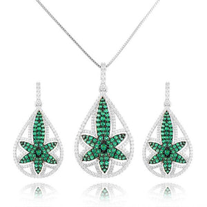 GODKI Luxury Flowers Cubic Zirconia Necklace Earring Jewelry Set For Women Dubai Jewelry Set - Y O L O Fashion Store