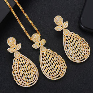 GODKI Super Luxury Water Drop Crystal CZ Necklace Earring Set For Women DUBAI Jewelry Set - Y O L O Fashion Store
