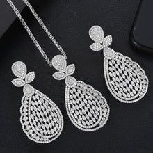 Load image into Gallery viewer, GODKI Super Luxury Water Drop Crystal CZ Necklace Earring Set For Women DUBAI Jewelry Set - Y O L O Fashion Store