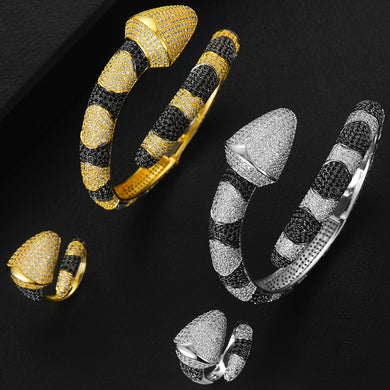 GODKI Luxury Snake African Bangle Ring Set Fashion Jewelry Sets For Women Wedding Engagement brincos para as mulheres 2018