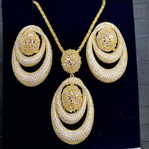 GODKI New Luxury Exclusive Circle Necklace Earring Sets For Women Wedding Bridal Cubic ZirconDubai High End Jewelry Set 2019 - Y O L O Fashion Store