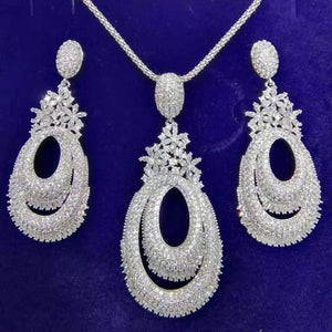 GODKI Luxury Twist Flower Nigerian Necklace Earring Jewelry Sets For Women Wedding Cubic Zircon Indian Dubai Bridal Jewelry Sets - Y O L O Fashion Store