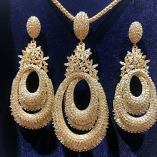 Load image into Gallery viewer, GODKI Luxury Twist Flower Nigerian Necklace Earring Jewelry Sets For Women Wedding Cubic Zircon Indian Dubai Bridal Jewelry Sets - Y O L O Fashion Store