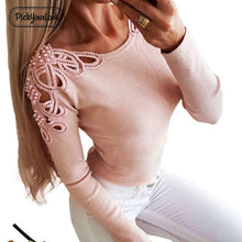 Load image into Gallery viewer, Pickyourlook Knitted Tops Women Sweater Hollow Out Autumn Pearl Female Jumper Knitwear Long Sleeve Solid Ladies Knitwear Blusas