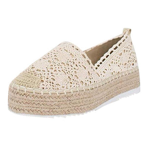 shoes woman sandals casual flat zapatos de mujer Women's Hollow Platform Casual Shoes Solid Color Breathable Wedge Espadrilles