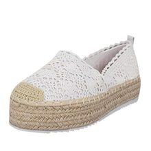 Load image into Gallery viewer, shoes woman sandals casual flat zapatos de mujer Women's Hollow Platform Casual Shoes Solid Color Breathable Wedge Espadrilles