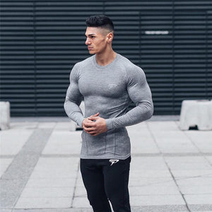 NEW Men Compression Quick dry Long sleeve T-shirt Man Gym Fitness Running t shirt Male Jogging Sports Workout Tight Tees Tops