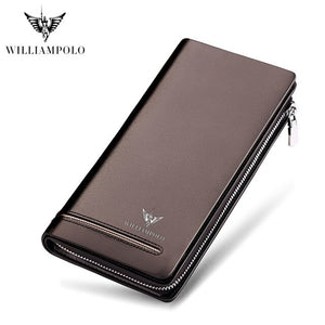 2019 new williampolo men's hand zipper wallet leather strap fold long large capacity handbag elegant and convenient men's wallet - Y O L O Fashion Store