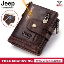 Load image into Gallery viewer, Free Engraving 100% Genuine Leather Men Wallet Coin Purse Small Mini Card Holder Chain PORTFOLIO Portomonee Male Walet Pocket - Y O L O Fashion Store