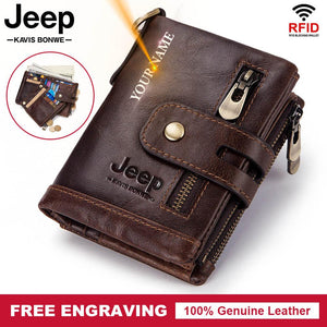 Free Engraving 100% Genuine Leather Men Wallet Coin Purse Small Mini Card Holder Chain PORTFOLIO Portomonee Male Walet Pocket - Y O L O Fashion Store