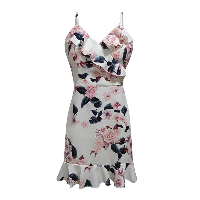 Womens Sexy V Neck Summer Dress Floral Printed Strappy Mini Dress Ladies Ruffle Summer Beach Party Dresses Casual beach dresses - Y O L O Fashion Store