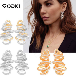 GODK Monaco Design Luxury Tornado Sandstorm Statement Earrings For Women Wedding Cubic Zircon Party Dubai Silver Bridal Jewelry