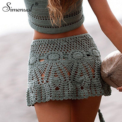 Simenual Sexy summer crochet swimwear floral BOHO mini skirts transparent pareos beachwear handmade hollow out short skirt lace - Y O L O Fashion Store