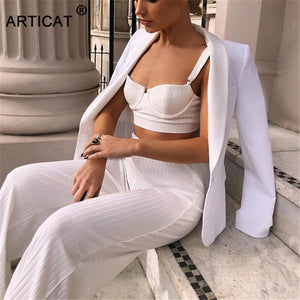 Articat White Two Piece Set Women Knitted Tracksuit Sleeveless Strapless Crop Top And Pants Sexy 2 Piece Sets Womens Outfits - Y O L O Fashion Store