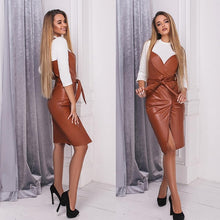 Load image into Gallery viewer, Women Sashes Pu Leather Club Sexy Dress Back Cross Spaghetti Strap Fashion Lady Elegant Dress Knee Length 2019 Vintage v Neck