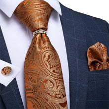 Load image into Gallery viewer, Men Tie Gold Blue Red Teal Paisley Solid Floral Quality Wedding Tie For Men Tie Ring Hanky Cufflink Silk Tie Set DiBanGu Design