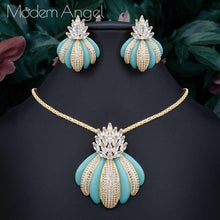 Load image into Gallery viewer, ModemAngel New Luxury Exclusive Circle Necklace Earring Sets For Women Wedding Bridal Cubic Zircon Dubai High End Jewelry Set