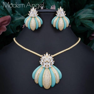 ModemAngel New Luxury Exclusive Circle Necklace Earring Sets For Women Wedding Bridal Cubic Zircon Dubai High End Jewelry Set