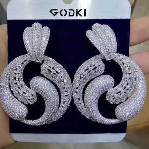 GODKI Famous Tai Chi BOLD Earrings For Women Trendy Cubic Zircon Party Wedding Engagement Dubai Earring for Women Jewelry - Y O L O Fashion Store