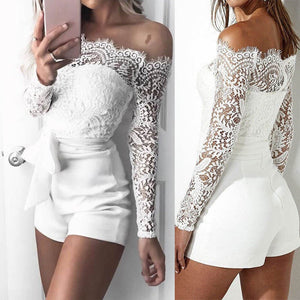 Women Ladies Summer Autumn Off shoulder Sexy Playsuits Fashion Long sleeve Sheer Lace Patchwork Hollow Bandage Skinny Jumpsuits