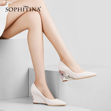 SOPHITINA Shallow Pointed Toe Pumps Fashion Special Design Flower High Quality New Shoes Comfortable Wedges Women's Pumps PO259