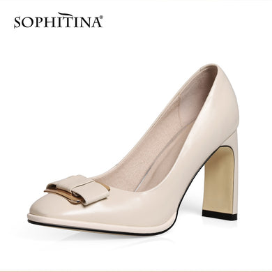 SOPHITINA Fashion Metal Decoration Pumps High Quality Genuine Leather New Shallow Shoes Elegant Handmade Women's Pumps MO399