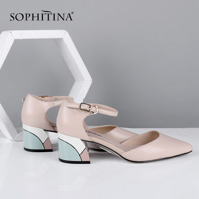 SOPHITINA Summer Elegant Women Sandals Fashion Buckle Ankle Wrap High Quality Sheepskin Square Heel Shoes Stylish Sandals C635
