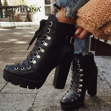 SOPHITINA Waterproof Platform Ankle Boots Lace-up Fashion Comfortable 12cm High Square Heel Woman Shoes Handmade Lady Boots H1